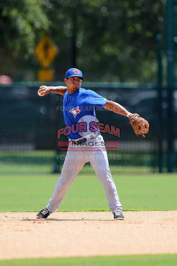GCL Blue Jays shortstop Franklin Barreto (4) during a game against the GCL Braves on July 15, 2013 at Disney's Wide World of Sport in Orlando, Florida.  The game was called in the 4th inning due to rain storms with the Braves leading 5-0.  (Mike Janes/Four Seam Images)