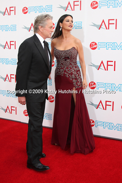 Michael Douglas & Catherine Zeta-Jones arriving at the AFI Life Achievement Awards honoring Michael Douglas  at Sony Studios, in  Culver City , CA on June 11, 2009.  The show airs ON TV LAND ON JULY 19, 2009 AT 9:00PM ET/PT..©2009 Kathy Hutchins / Hutchins Photo.