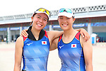 (L-R) Kana Nishihara &   Akiho Takano  (JPN), <br /> AUGUST 23, 2018 - Rowing : <br /> Women's pair  Final <br /> at Jakabaring Sport Center Lake <br /> during the 2018 Jakarta Palembang Asian Games <br /> in Palembang, Indonesia. <br /> (Photo by Yohei Osada/AFLO SPORT)