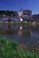France, Loire Valley, castle, Amboise, Loire Castle Region, Indre-et-Loire, Europe, 15th century Chateau Amboise along the Loire River in the city of Amboise.
