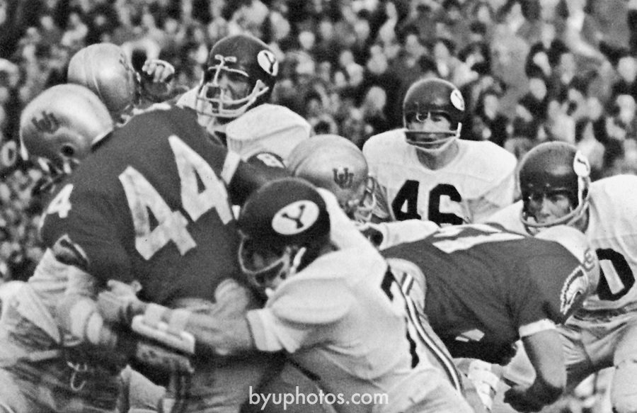 1966 vs. Utah_Banyan_p293<br /> <br /> BYU vs University of Utah action photo<br /> <br /> Courtesy of L. Tom Perry Special Collections