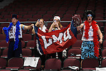 March 5, 2015; Las Vegas, NV, USA; Loyola Marymount Lions fans cheer against the Pepperdine Waves before the game of the WCC Basketball Championships at Orleans Arena.