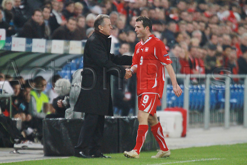 12.10.2010 Valentin Stocker struck twice as Switzerland sent Wales crashing to their third successive Euro 2012 qualifying defeat. Picture shows Alexander Frei and team manager Ottmar Hitzfeld.