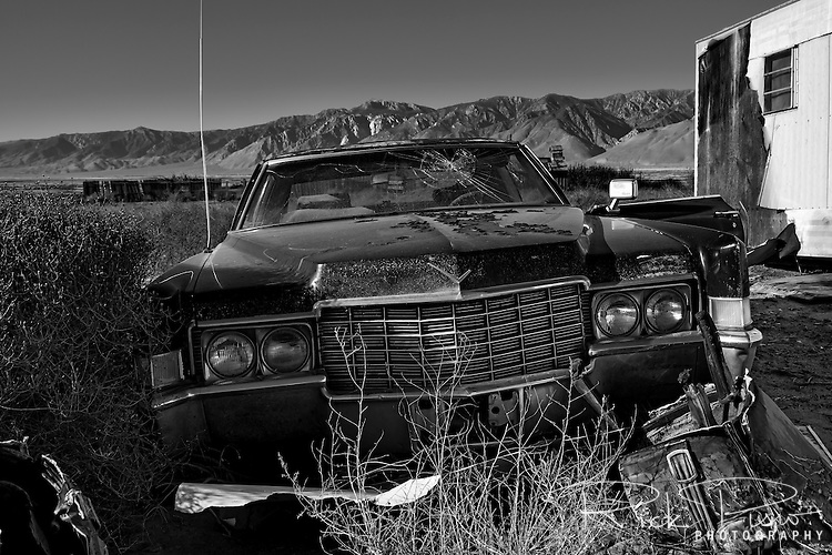 Derrelict Cadillac sits in the town of Keeler in California's Owens Valley
