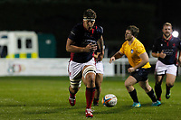 TRY - Matas Jurevicius of London Scottish charges down the kick and runs in to score during the Championship Cup match between London Scottish Football Club and Yorkshire Carnegie at Richmond Athletic Ground, Richmond, United Kingdom on 4 October 2019. Photo by Carlton Myrie / PRiME Media Images