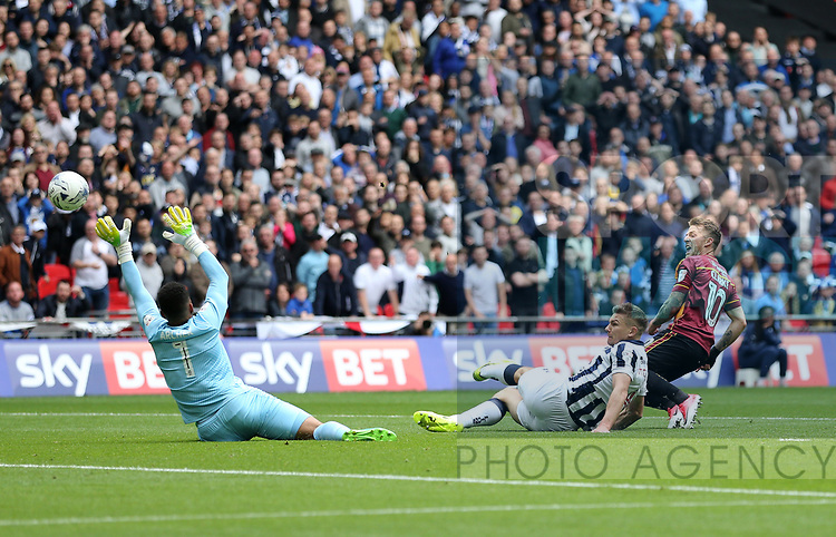 Bradford's Billy Clarke sees his shot saved by Millwall's Jordan Archer during the League One Play-Off Final match at Wembley Stadium, London. Picture date: May 20th, 2017. Pic credit should read: David Klein/Sportimage