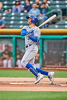 Paulo Orlando (59) of the Omaha Storm Chasers follows through on his swing against the Salt Lake Bees in Pacific Coast League action at Smith's Ballpark on May 8, 2017 in Salt Lake City, Utah. Salt Lake defeated Omaha 5-3. (Stephen Smith/Four Seam Images)