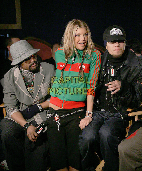 BLACK EYED PEAS - TABOO, FERGIE & APL.DE.AP.The 47th Annual Grammy Award Nominees Announcements. The announcements were held at The Music Box in Hollywood, California .December 7th, 2004.half length, green zip up top, cardigan, hats, braids, plaits.www.capitalpictures.com.sales@capitalpictures.com.Supplied By Capital PIctures