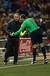 Almeria´s coach Juan Ignacio Martinez and Mateu Lahoz during 2014-15 La Liga match between Atletico de Madrid and Almeria at Vicente Calderon stadium in Madrid, Spain. February 21, 2015. (ALTERPHOTOS/Luis Fernandez)