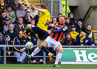 Sanny Green of Luton Town sees his cross blocked during the Sky Bet League 2 match between Oxford United and Luton Town at the Kassam Stadium, Oxford, England on 16 April 2016. Photo by Liam Smith.