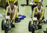 &copy; Peter Spurrier/Sports Photo +44 (0) 7973 819 551.PPP Healthcare British Indoor Rowing Championships.18th Nov. 2001.National Indoor Arena...Matt Pinsent and James Cracknell (R) matching each other, stroke for stroke, in the early stages of their race at the British Indoor Rowing Championships at the National Indoor Area at Birmingham... ........... [Mandatory Credit: Peter SPURRIER/Intersport Images]<br />