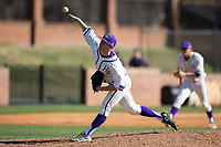 High Point Panthers relief pitcher Rion Murrah (29) delivers a pitch to the plate against the NJIT Highlanders at Williard Stadium on February 19, 2017 in High Point, North Carolina.  The Panthers defeated the Highlanders 6-5.  (Brian Westerholt/Four Seam Images)