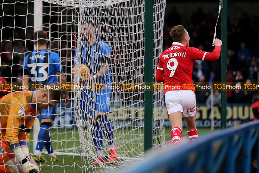 Cauley Woodrow celebrates scoring Barnsley's third goal during Gillingham vs Barnsley, Sky Bet EFL League 1 Football at The Medway Priestfield Stadium on 9th February 2019