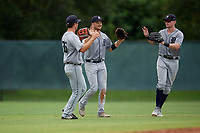 GCL Tigers West outfielders Kerry Carpenter (35), Clark Brinkman (21), and Matthew Jarecki (24) after a Gulf Coast League game against the GCL Phillies West on July 27, 2019 at the Carpenter Complex in Clearwater, Florida.  (Mike Janes/Four Seam Images)