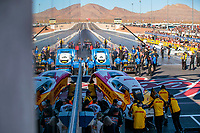 Nov 2, 2019; Las Vegas, NV, USA; NHRA funny car driver J.R. Todd waits in line behind Tommy Johnson Jr in the staging lanes during qualifying for the Dodge Nationals at The Strip at Las Vegas Motor Speedway. Mandatory Credit: Mark J. Rebilas-USA TODAY Sports