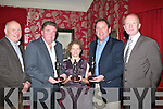 RETIRMENT: Capt Ian Harrington Adm Officer 32nd  and vice-president RACO. presented retirmrnt gifts to members of RACO in Cassidy's Restaurant, Tralee on Thursday night, L-r: Comdft Gerry McAnaney (O/C 32ndf Inf Bn), Comdt Gerry O'Connor(rtd),Capt Louise Keane (rtd), Comdt Michael Brennan (rtd) and Capt Ian Harrington (RACO Vice- President).