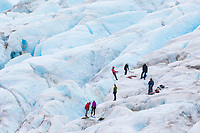 Climbers on Exit Glacier, Kenai Fjords National Park, Alaska.