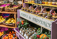 Herb and produce vendor, St Paul de Vance, Provence, France