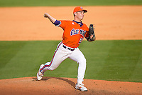 Relief pitcher Justin Sarratt #23 of the Clemson Tigers in action versus the Duke Blue Devils at Durham Bulls Athletic Park May 22, 2009 in Durham, North Carolina.  (Photo by Brian Westerholt / Four Seam Images)