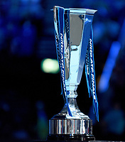 The singles trophy out on display for the match against Alexander Zverev and Novak Djokovic<br /> Photographer Hannah Fountain/CameraSport<br /> <br /> International Tennis - Nitto ATP World Tour Finals Day 8 - O2 Arena - London - Sunday 18th November 2018<br /> <br /> World Copyright &copy; 2018 CameraSport. All rights reserved. 43 Linden Ave. Countesthorpe. Leicester. England. LE8 5PG - Tel: +44 (0) 116 277 4147 - admin@camerasport.com - www.camerasport.com
