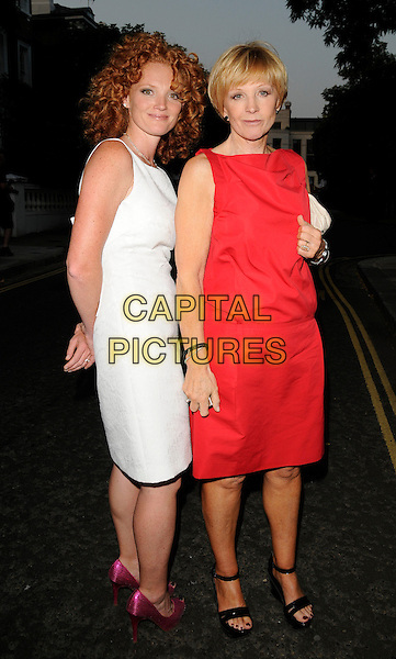 ANNE ROBINSON & DAUGHTER EMMA.Leaving Sir David Frost's Summer Party, Carlyle Square, London, England, UK,  2nd July 2009..full length red dress white sleeveless family ankle strap black shoes sandals pink heels .CAP/CAN.©Can Nguyen/Capital Pictures