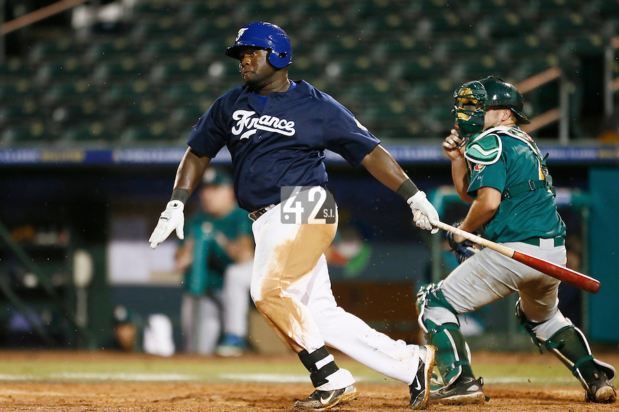 21 September 2012: Rene Leveret is seen at bat during France vs South Africa tie game 2-2, rain delayed at the end of the 9th inning at 1 AM, during the 2012 World Baseball Classic Qualifier round, in Jupiter, Florida, USA. Game to resume 22 September 2012 at noon.