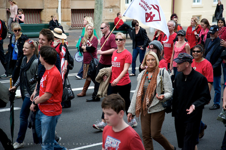 Thousands of NSW teachers and public sector workers across the state protest against the Barry O'Farrell government's industrial legislation.