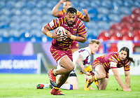 Picture by Allan McKenzie/SWpix.com - 11/05/2018 - Rugby League - Ladbrokes Challenge Cup - Huddersfield Giants v Wakefield Trinity - John Smith's Stadium, Huddersfield, England - Huddersfield's Ukuma Ta'ai's breaks away from tacklers to go on and score a try against Wakefield.