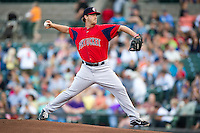 Pawtucket Red Sox starting pitcher Steven Wright #32 during an International League game against the Rochester Red Wings at Frontier Field on August 11, 2012 in Rochester, New York.  Rochester defeated Pawtucket 5-3.  (Mike Janes/Four Seam Images)