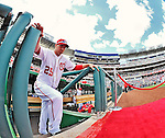 12 April 2012: Washington Nationals first baseman Adam LaRoche is introduced on Opening Day prior to facing the Cincinnati Reds at Nationals Park in Washington, DC. The Nationals defeated the Reds 3-2 in 10 innings to take the first game of their 4-game series. Mandatory Credit: Ed Wolfstein Photo