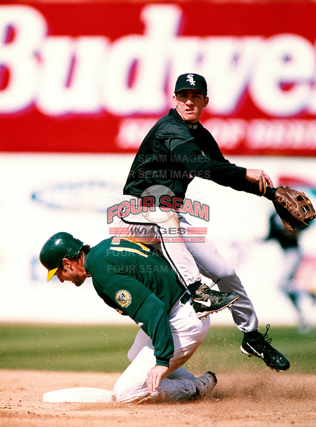 Mike Caruso of the Chicago White Sox participates in a Major League Baseball Spring Training game during the 1998 season in Phoenix, Arizona. (Larry Goren/Four Seam Images)