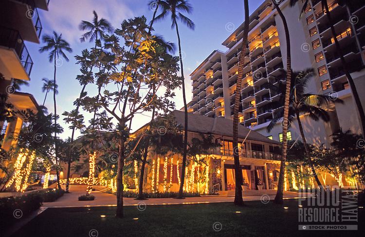 Christmas decorations at Halekulani Hotel, Oahu