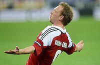 FUSSBALL  EUROPAMEISTERSCHAFT 2012   VORRUNDE Daenemark - Deutschland       17.06.2012 Michael Krohn - Dehli (Daenemark) bejubelt seinen Treffer zum 1:1