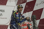 18th March 2018, Losail International Circuit, Lusail, Qatar; Qatar Motorcycle Grand Prix, Sunday race day; Valentino Rossi (Movistar Yamaha) 3rd placed on the podium