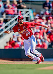 29 February 2020: St. Louis Cardinals top prospect outfielder Dylan Carlson in action during a Spring Training game against the Washington Nationals at Roger Dean Stadium in Jupiter, Florida. The Cardinals defeated the Nationals 6-3 in Grapefruit League play. Mandatory Credit: Ed Wolfstein Photo *** RAW (NEF) Image File Available ***