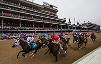 LOUISVILLE, KY - MAY 04: The Field for the Longines Kentucky Oaks races by the grandstand for the first time at Churchill Downs on May 4, 2018 in Louisville, Kentucky. (Photo by Alex Evers/Eclipse Sportswire/Getty Images)