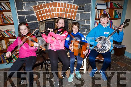 Katie Trant (Listowel), Sarah Murphy (Listowel), Trina Kennedy (Listowel) and Daragh Breen (Kilflynn) showing their skills at the 28th Annual Féile Feabhra Ceolann workshop, at the Diarmuid Ó Catháin Cultural Centre, in Lixnaw on Saturday last.