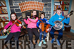 Katie Trant (Listowel), Sarah Murphy (Listowel), Trina Kennedy (Listowel) and Daragh Breen (Kilflynn) showing their skills at the 28th Annual Féile Feabhra Ceolann workshop, at the Diarmuid Ó Catháin Cultural Centre, in Lixnaw on Saturday last.