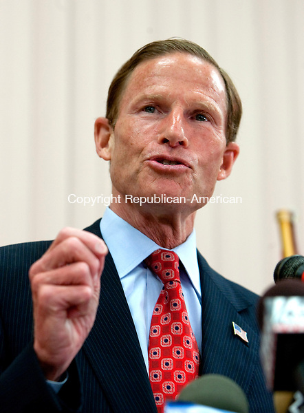 WEST HARTFORD, CT- MAY 17 2010-051710JS05-Connecticut Attorney General and U.S. Senate candidate Richard Blumenthal, addresses reporters about his military record during a press conference Tuesday at the Hannon-Hatch VFW Post 9929 in West Hartford. Blumenthal addressed a report that he had misstated his military service during the Vietnam War. <br /> Jim Shannon Republican-American