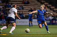 Seattle, WA - Sunday, September 11 2016: Seattle Reign FC midfielder Kim Little (8) looks for a pass during a regular season National Women's Soccer League (NWSL) match between the Seattle Reign FC and the Washington Spirit at Memorial Stadium. Seattle won 2-0.