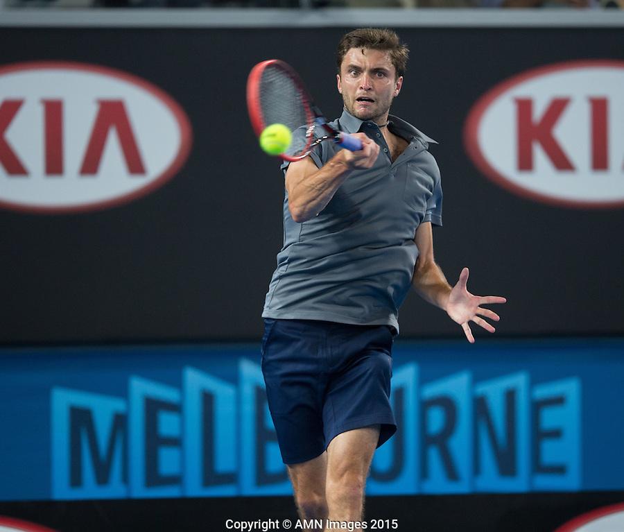 Gilles Simon (FRA)<br /> <br /> Tennis - Australian Open 2015 - Grand Slam -  Melbourne Park - Melbourne - Victoria - Australia  - 24 January 2015. <br /> &copy; AMN IMAGES