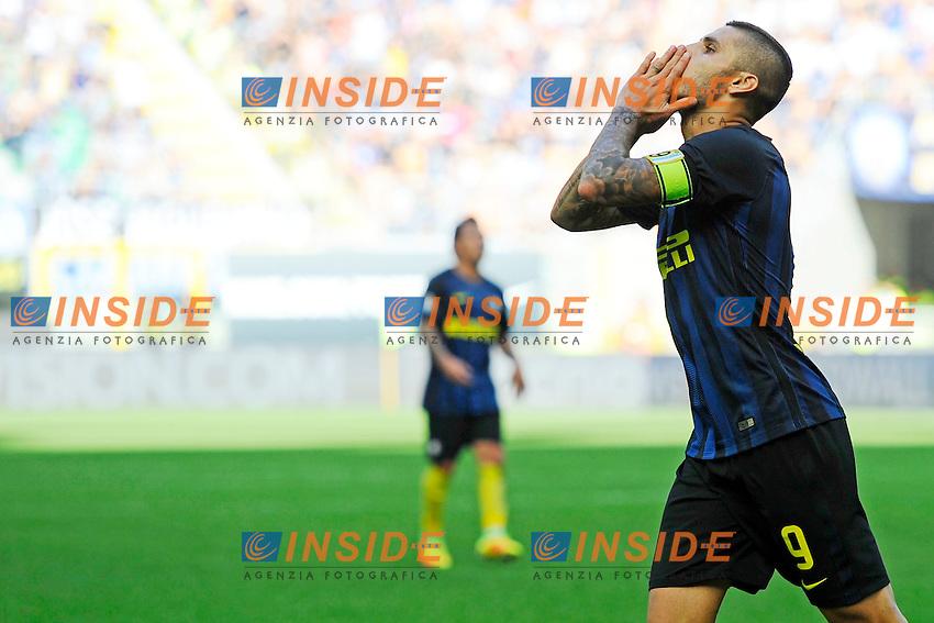 Delusione Mauro Icardi Inter<br /> Milano 25-09-2016 Stadio Giuseppe Meazza - Football Calcio Serie A Inter - Bologna. Foto Giuseppe Celeste / Insidefoto