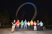 The London Eye is the backdrop for the launch of the Rugby World Cup England 2015 with L-R Andrew Mehrtens (New Zealand), Adam Jones (Wales), Gordon D'Arcy (Ireland), Marco Bortolami (Italy), Jason Robinson (England), James Horwill (Australia), Masaaki Sakata (Japan), Bob Skinstad (South Africa), Gonzalo Camacho (Argentina) - 15/09/2015 - London Eye - London <br /> Mandatory Credit: Rob Munro/Stewart Communications