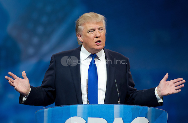 Donald Trump, Chairman & President, The Trump Organization, makes remarks at CPAC 2013 At the Gaylord National Resort & Convention Center in National Harbor, Maryland on Friday, March 15, 2013..Credit: Ron Sachs / CNP/MediaPunch
