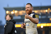 Ross Batty of Bath Rugby gives a thumbs up to supporters after the match. Aviva Premiership match, between Worcester Warriors and Bath Rugby on February 13, 2016 at Sixways Stadium in Worcester, England. Photo by: Patrick Khachfe / Onside Images