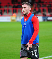 Lincoln City's Shay McCartan during the pre-match warm-up<br /> <br /> Photographer Andrew Vaughan/CameraSport<br /> <br /> The EFL Sky Bet League Two - Stevenage v Lincoln City - Saturday 8th December 2018 - The Lamex Stadium - Stevenage<br /> <br /> World Copyright © 2018 CameraSport. All rights reserved. 43 Linden Ave. Countesthorpe. Leicester. England. LE8 5PG - Tel: +44 (0) 116 277 4147 - admin@camerasport.com - www.camerasport.com