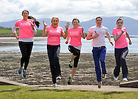 REPRO FREE: 28-4-2013: RTE's Miriam O'Callaghan and Kerry footballer Marc O'Se join Deirdre Geaney, Aisling O'Connor and Mairead Breathnach in Dingle at the weekend for the launch of the Dingle Womens' Mini Marathon on May 18th in aid of the National Breast Cancer Research Institute and lcoal school Pobalscoil Chorca Dhuibhne at the weekend.<br /> Photo: Don MacMonagle<br /> <br /> The mini marathon is intended to cater for women of all levels of fitness with walkers, joggers and runners being encouraged to take part. It is anticipated that the 10km run will become a permanent fixture for recreational runners and walkers as the peninsula&rsquo;s landscape forms one of the most impressive backdrops imaginable for any such event. <br />