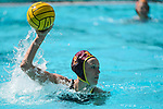 LOS ANGELES, CA - MAY 13: Annika Jensen #2 of the University of Southern California looks for an open teammate during the Division I Women's Water Polo Championship held at the Uytengsu Aquatics Center on the USC campus on May 13, 2018 in Los Angeles, California. USC defeated Stanford 5-4. (Photo by Tim Nwachukwu/NCAA Photos via Getty Images)