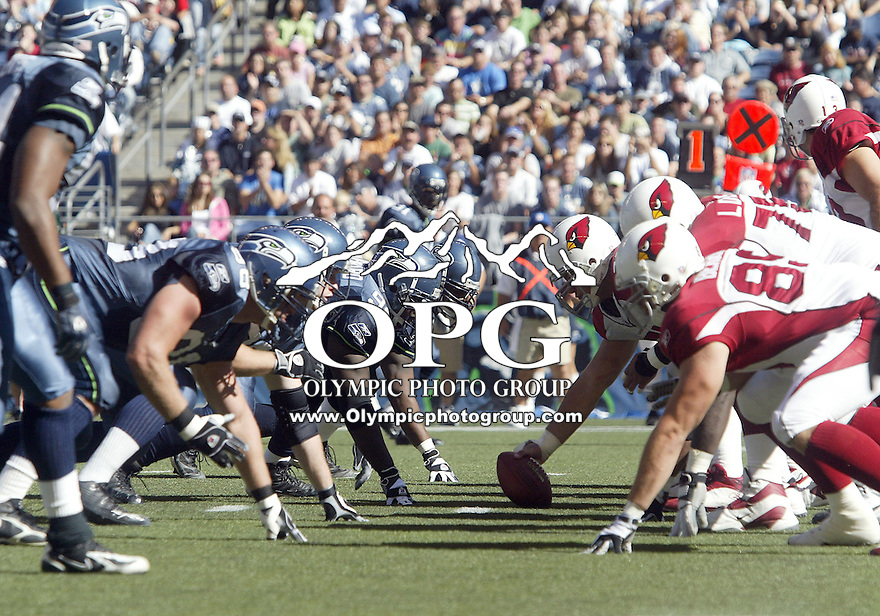 25 Sep 2005:   Arizona Cardinals offensive players and Seattle Seahawks defensive players get set at the line of scrimmage at Qwest Field in Seattle, Washington.