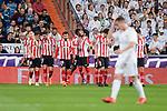 Real Madrid Lucas Vazquez and Athletic Club celebrating a goal during La Liga match between Real Madrid and Athletic Club at Santiago Bernabeu Stadium in Madrid. April 19, 2017. (ALTERPHOTOS/Borja B.Hojas)